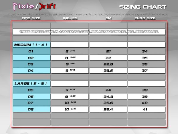 Epic inline skate size chart