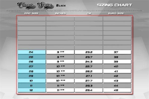 Epic Roller skate size chart