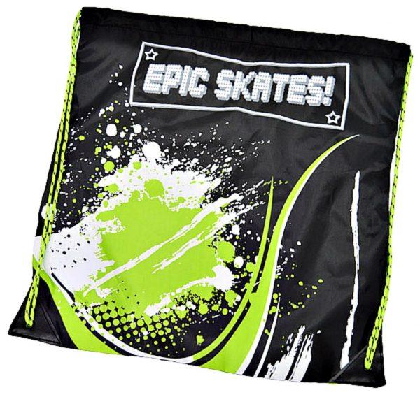 epic skates green drawstring bag