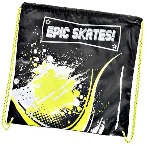 epic skates yellow drawstring bag