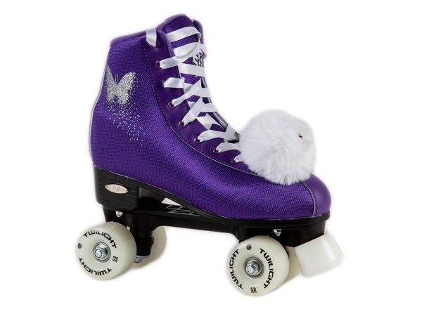 epic purple butterfly led quad roller skate